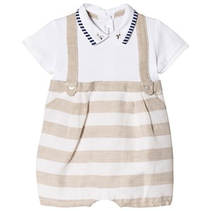 Image of Mayoral 2-in-One Beige Stripe Overalls and Baby Body 1-2 months (2943825481)