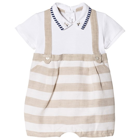 Mayoral 2-in-One Beige Stripe Overalls and Baby Body 23