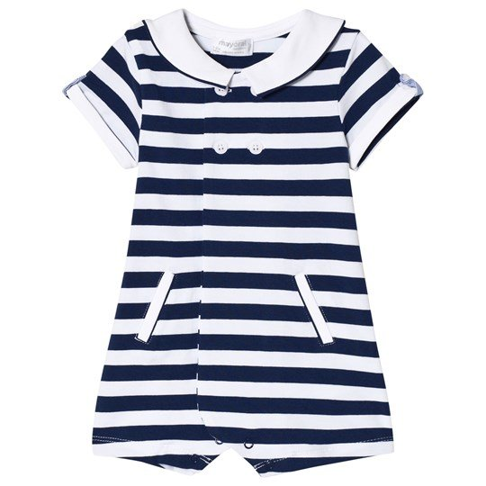 Mayoral Navy Stripe Teddy Collar Sailor Romper 26