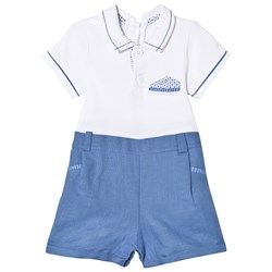 Mayoral White and Blue Shirt Romper
