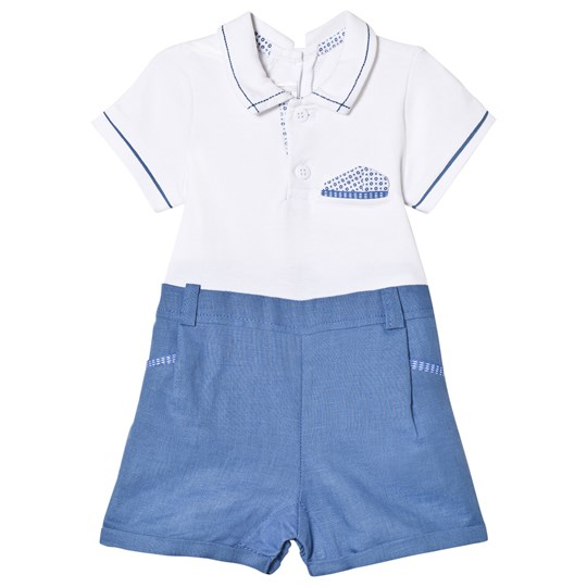 Mayoral White and Blue Shirt Romper 63