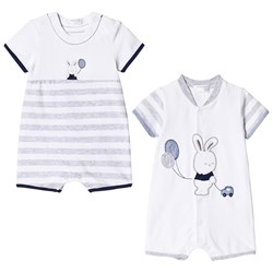 Mayoral Set of 2 White and Grey Bunny Jersey Rompers