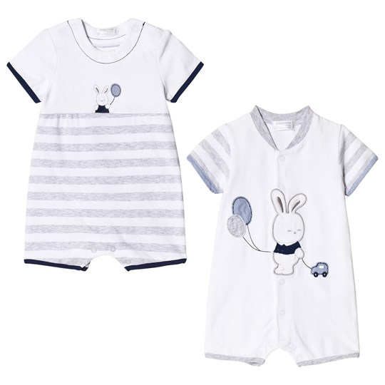 Mayoral Set of 2 White and Grey Bunny Jersey Rompers 24