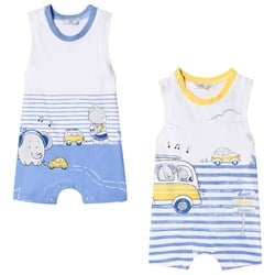 Mayoral White and Blue Elephant Car Print Pack of 2 Sleeveless Rompers