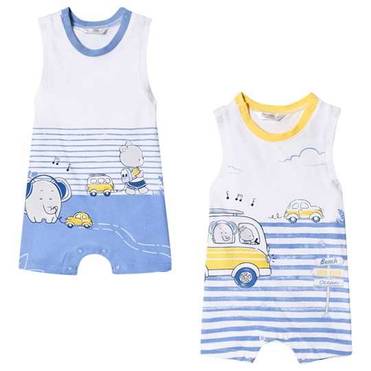 Mayoral White and Blue Elephant Car Print Pack of 2 Sleeveless Rompers 40