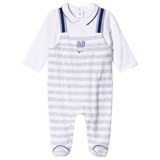 Mayoral Grey Stripe Overalls Footed Baby Body 34