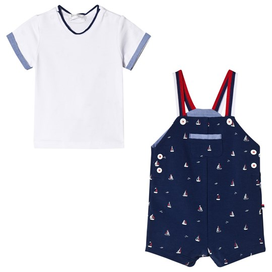 Mayoral White Tee and Navy Sailor Boat Print Dungaree Set 6