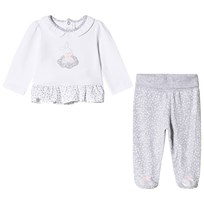 Mayoral White Bunny Top and Grey Footed Leggings Set 14