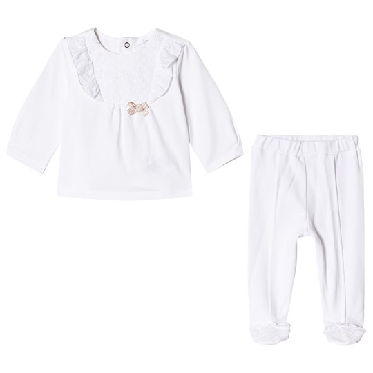 Mayoral Off White Broiderie Anglais Top and Footed Leggings Set 91