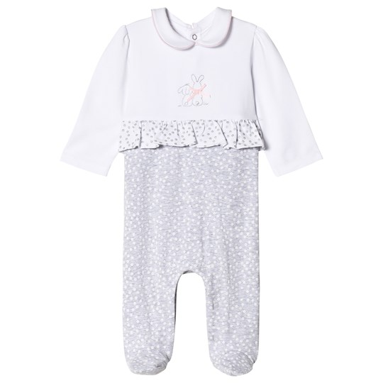 Mayoral White and Grey Stitched Bunny and Frill Footed Baby Body 14