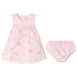 Mayoral Pink Petal Print Overlay Dress with Knickers