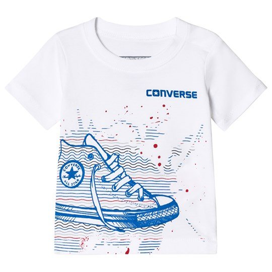 Converse White and Blue Sneaker Stack Tee White