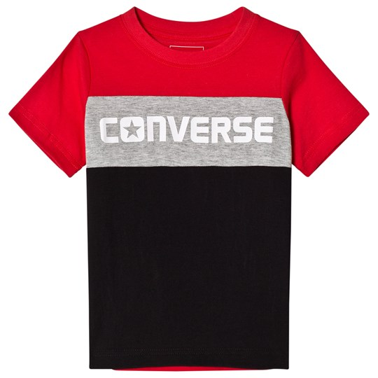 Converse Red and Black Colour Blocked Graphic Tee Red