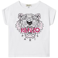 Kenzo White Multi Embroidered Tiger Tee 01