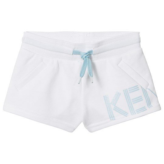 Kenzo White and Blue Logo Sweat Shorts 01