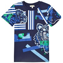 Kenzo Navy Multi Tiger and Stripe Print Tee 49