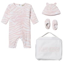 Kenzo Pink Tiger Print Padded Babygrow, Hat and Booties in Gift Bag 320