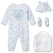 Kenzo Blue Tiger Print Padded Onesie Hat and Booties in Gift Bag 441