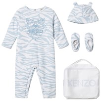 Kenzo Blue Tiger Print Padded Babygrow, Hat and Booties in Gift Bag 441
