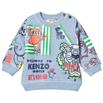 Kenzo Blue Marl Multi Icon Print Sweatshirt 420