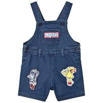 Kenzo Blue Denim Dungarees with Badges and Branding 461