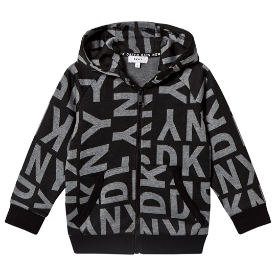 DKNY Black All Over Branded Zip Hoodie M52