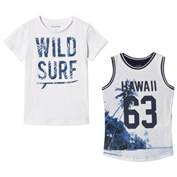 Mayoral Set of Two Hawaiian Tees White and Blue