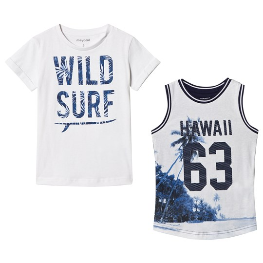 Mayoral Set of Two Hawaiian Tees White and Blue 33