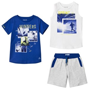 Image of Mayoral 3-Piece Set of Tees and Shorts Blue 2 years (3065507333)