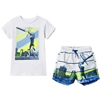 Mayoral Set of Swim Trunks and T-Shirt White 57