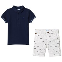 Mayoral Set of Patterned Shorts and Polo T-Shirt Navy and White 70