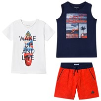 Mayoral White Graphic Tee, Navy Graphic Vest and Red Shorts Set 74