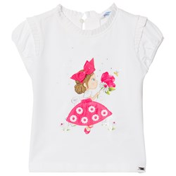 Mayoral White and Pink T-Shirt with Pleated Neckline
