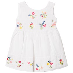 Mayoral White Linen Embroidered Dress