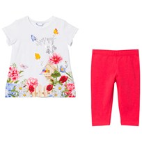 Mayoral White Floral Diamant Tee and Leggings Set 92