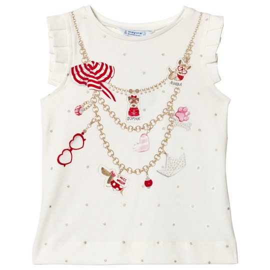 Mayoral Red Necklace and Diamante Vest Top 10