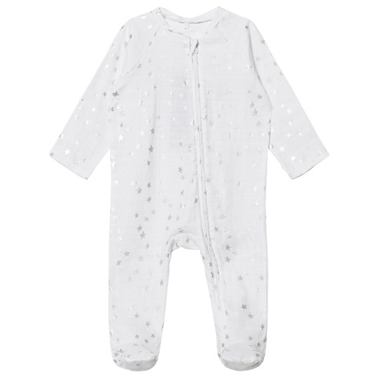 Aden + Anais White Silver Star Metallic Footed Baby Body Metallic Silver