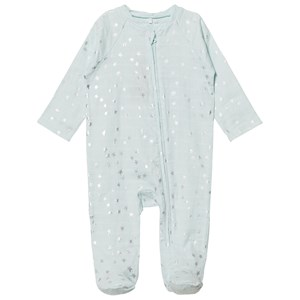 Image of Aden + Anais Pale Blue Silver Star Metallic Footed Baby Body 6-9 months (2851082709)