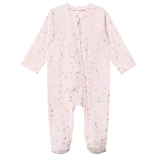 Aden + Anais Pale Pink Footed Baby Body Gold Star Metallic Metallic Primrose