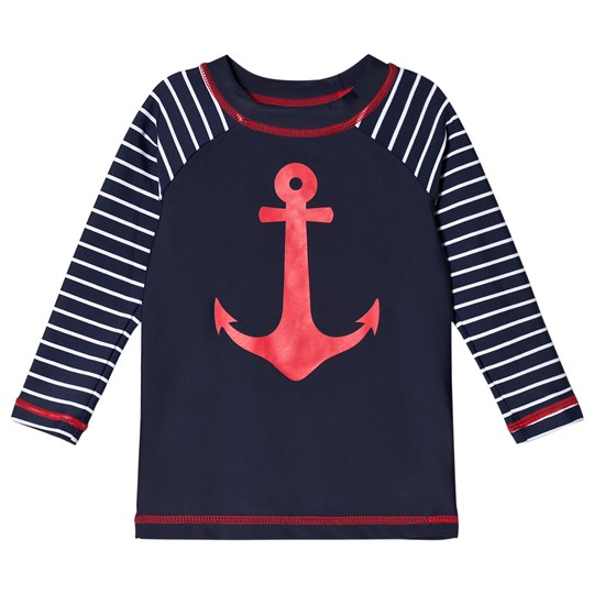 Hatley Sea Anchors Long Sleeve Rashguard Navy Marinblå
