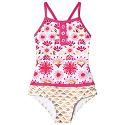 Hatley Pink and Gold Sarchi Colorblock Swimsuit