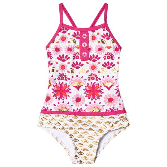 Hatley Pink and Gold Sarchi Colorblock Swimsuit Pink