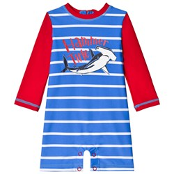 Hatley Loop-The-Looping Hammerheads Rashguard One-Piece Red and Blue