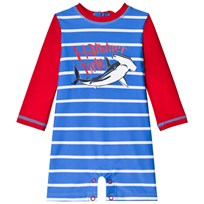 Hatley Loop-The-Looping Hammerheads Rashguard One-Piece Red and Blue Rød