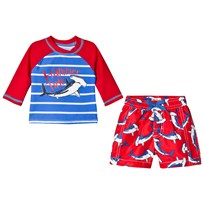 Hatley Loop-The-Looping Hammerheads 2-Piece Set Red and Blue Rød