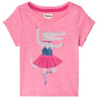 Hatley Twirling Gator Back Bow T-shirt Rosa Pink