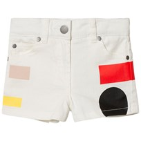 Stella McCartney Kids White Beau Denim Shorts with Multi Colour Geometric Print 9082