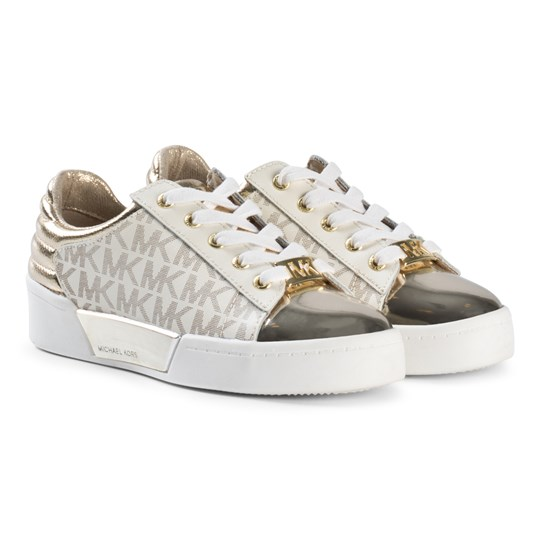 Michael Kors Gold Logo Repeat Zia Guard Yard Laced Trainers Gull