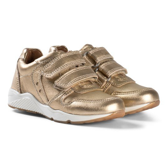 Bisgaard Gold Velcro Shoes Gold