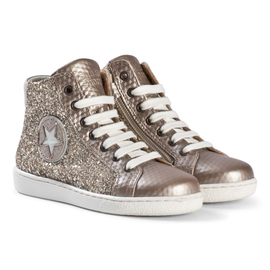 Bisgaard Shoe with Laces Gold-Glitter Gold-Glitter